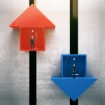 Different direction concept with red and blue arrow elevators with businessmen going up and down. 3D Rendering