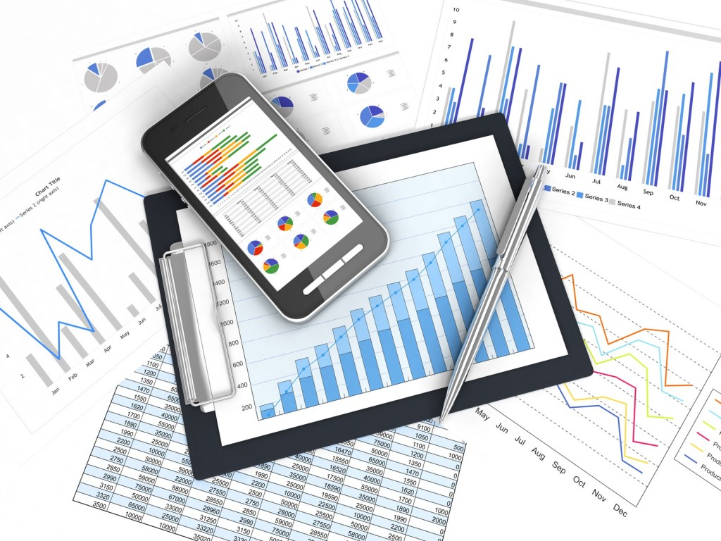 business image chart and smart phone