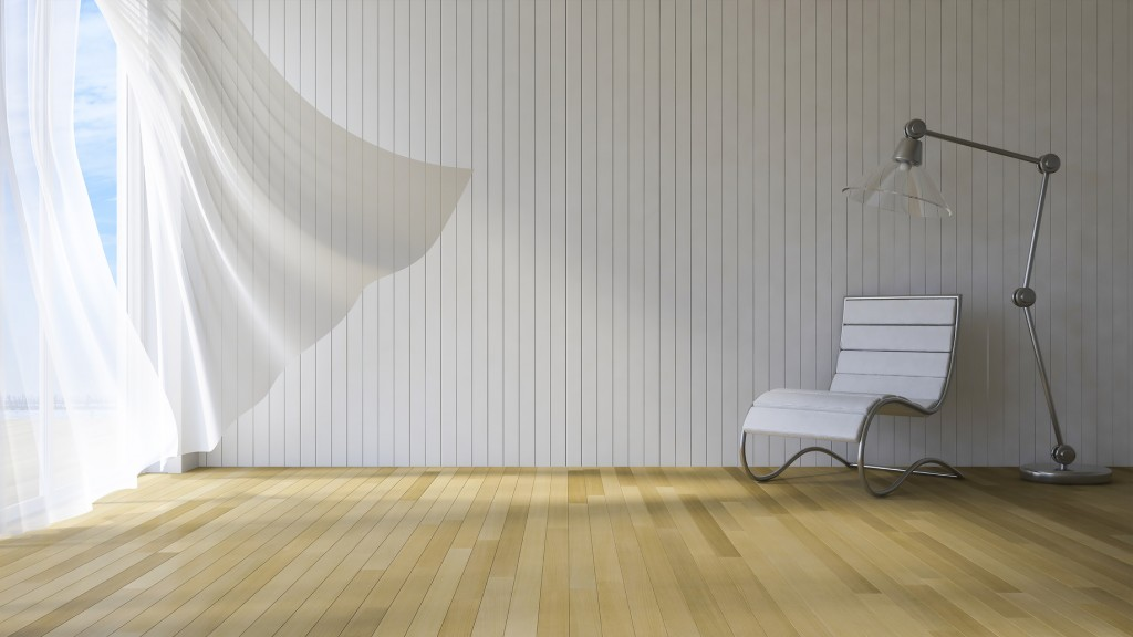 3ds rendered image of seaside room , White fabric curtains being blown by wind from the sea, wooden wall and floor, Chair and lamp